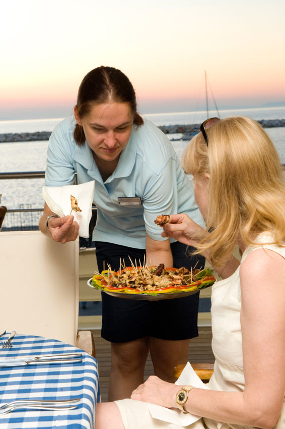 Waitress on Variety Serving Canapes