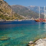 Scenic picture of Turkish Gulet in a Turquise bay