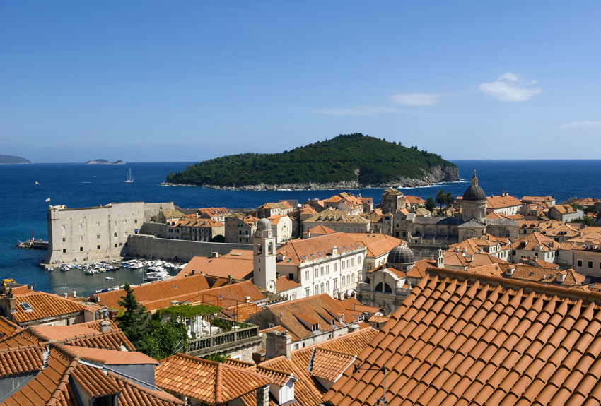 Dubrovnik in Croatia view of rooftops in town
