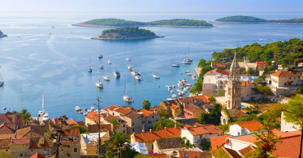 Scenic View of Hvar town quay