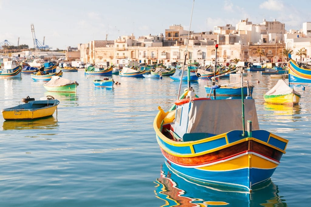 Colorful typical boats - Mediterranean traditional fisherman vil